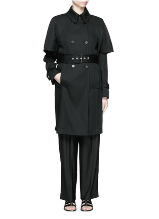 Figure View - Click To Enlarge - Balenciaga - Cape back cotton twill trench coat