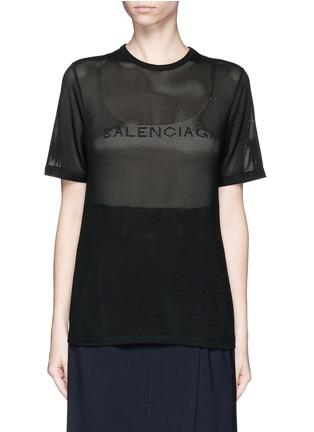 Main View - Click To Enlarge - Balenciaga - Ajoure logo mesh T-shirt