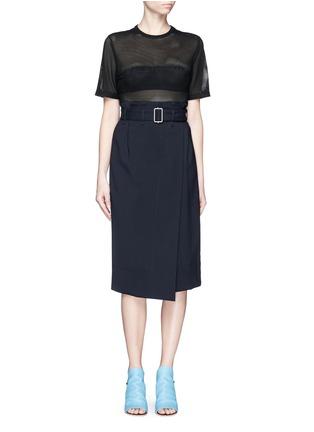 Figure View - Click To Enlarge - Balenciaga - Ajoure logo mesh T-shirt