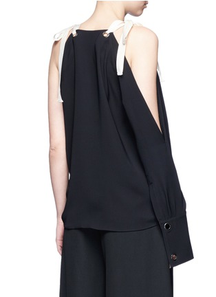 Back View - Click To Enlarge - MONSE - Tie shoulder asymmetric sleeve silk top