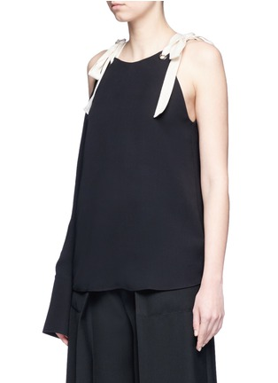 Front View - Click To Enlarge - MONSE - Tie shoulder asymmetric sleeve silk top