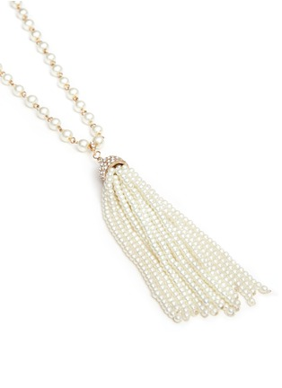 Detail View - Click To Enlarge - Kenneth Jay Lane - Glass pearl tassel crystal pavé necklace