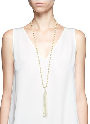 Figure View - Click To Enlarge - Kenneth Jay Lane - Glass pearl tassel crystal pavé necklace