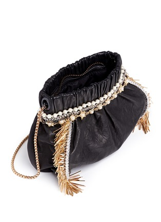 Detail View - Click To Enlarge - Venna - Zircon fringe star chain trim leather crossbody bag