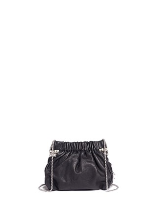 Back View - Click To Enlarge - Venna - Zircon fringe star chain trim leather crossbody bag