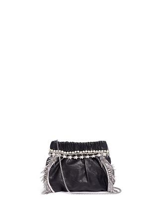Main View - Click To Enlarge - Venna - Zircon fringe star chain trim leather crossbody bag