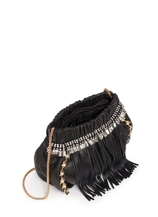Detail View - Click To Enlarge - VENNA - Pearl star chain fringed leather crossbody bag