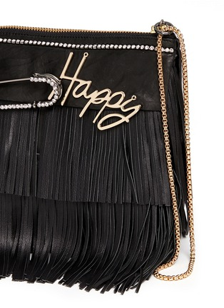 Detail View - Click To Enlarge - VENNA - 'Happy' zircon trim leather fringe clutch