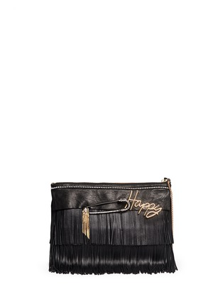 Main View - Click To Enlarge - VENNA - 'Happy' zircon trim leather fringe clutch