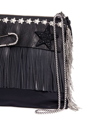 Detail View - Click To Enlarge - Venna - Pear star chain embellished leather fringe clutch