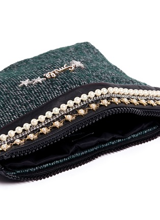 Detail View - Click To Enlarge - Venna - 'Smile' pearl star chain embellished bouclé clutch