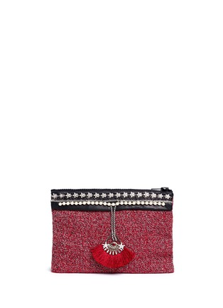Main View - Click To Enlarge - Venna - 'Fan' pearl star chain embellished bouclé clutch