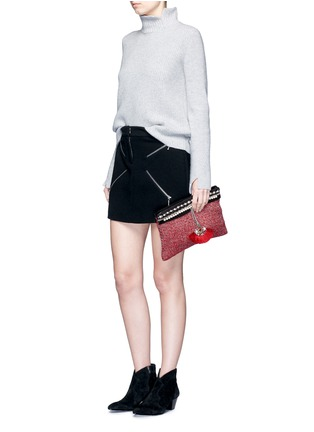 Figure View - Click To Enlarge - Venna - 'Fan' pearl star chain embellished bouclé clutch