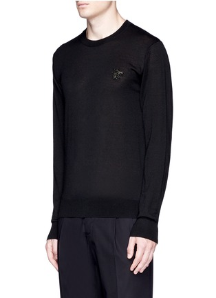 Front View - Click To Enlarge - Dolce & Gabbana - Crystal bee embroidery cashmere sweater