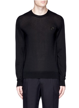 Main View - Click To Enlarge - Dolce & Gabbana - Crystal bee embroidery cashmere sweater