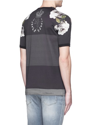 Back View - Click To Enlarge - Dolce & Gabbana - Floral print colourblock stripe T-shirt