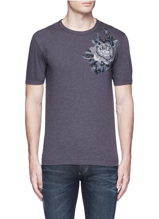 Main View - Click To Enlarge - - - Digital rose patch T-shirt