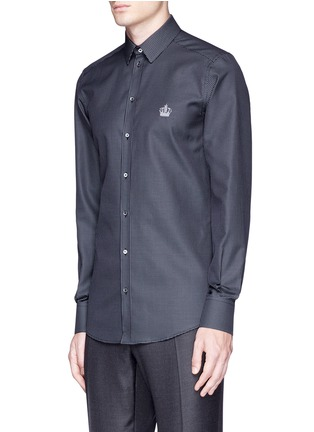 Front View - Click To Enlarge - Dolce & Gabbana - 'Gold' slim fit diamond jacquard cotton shirt
