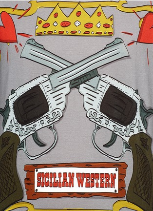 Detail View - Click To Enlarge - - - GUN CARTOON PRINT COTTON T-SHIRT