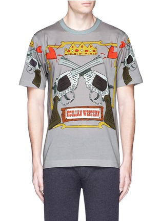 Main View - Click To Enlarge - - - GUN CARTOON PRINT COTTON T-SHIRT