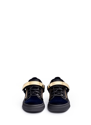 Front View - Click To Enlarge - Giuseppe Zanotti Design - 'London' velvet low top sneakers