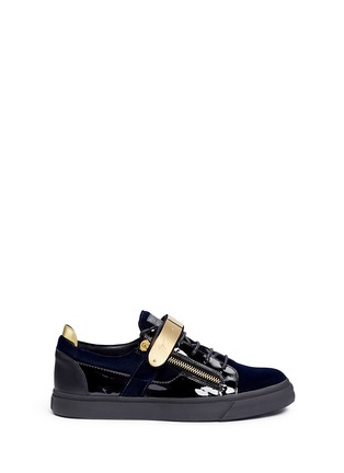 Main View - Click To Enlarge - Giuseppe Zanotti Design - 'London' velvet low top sneakers