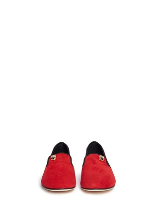 Front View - Click To Enlarge - 73426 - 'Dalila' crystal pavé owl charm suede loafers