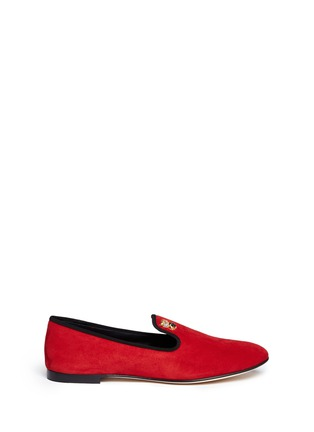 Main View - Click To Enlarge - 73426 - 'Dalila' crystal pavé owl charm suede loafers