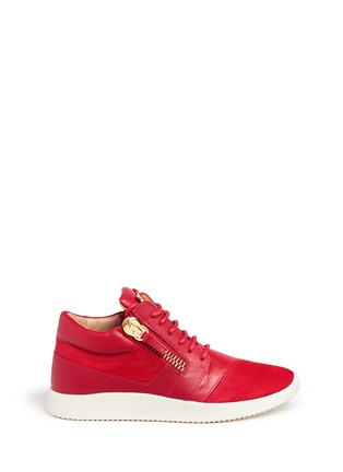 Main View - Click To Enlarge - 73426 - 'Runner' suede trim leather zip sneakers
