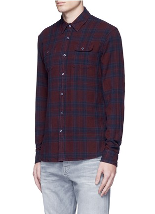 Front View - Click To Enlarge - Scotch & Soda - Embroidered check plaid cotton shirt