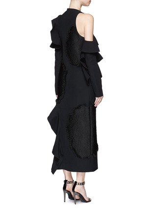 Back View - Click To Enlarge - Proenza Schouler - Fil coupé cutout cold shoulder ruffle crepe dress