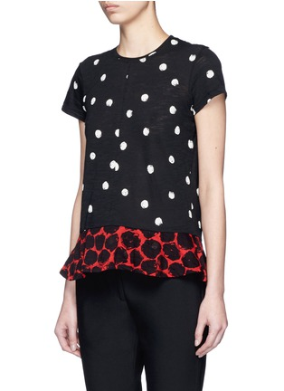 Front View - Click To Enlarge - Proenza Schouler - Dot print tissue jersey T-shirt