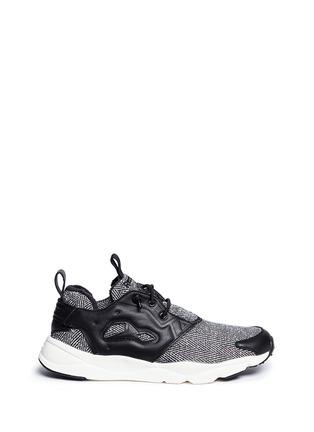Main View - Click To Enlarge - Reebok - 'FuryLite Winter' leather trim herringbone sneakers