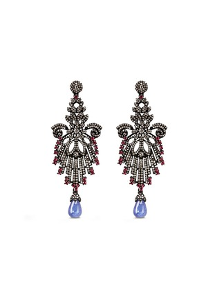 Main View - Click To Enlarge - Aishwarya - Diamond pavé ruby tanzanite drop earrings