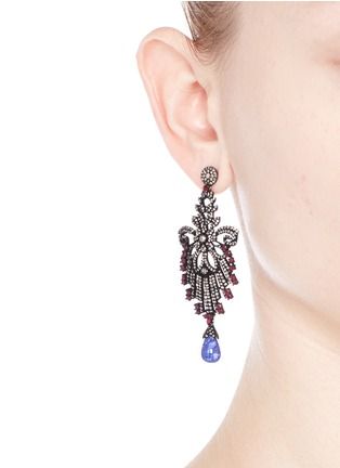Figure View - Click To Enlarge - Aishwarya - Diamond pavé ruby tanzanite drop earrings