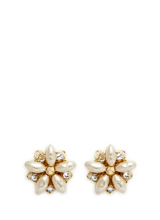 Main View - Click To Enlarge - Miriam Haskell - Filigree floral Baroque pearl stud earrings