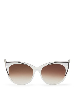 Main View - Click To Enlarge - Thierry Lasry - 'Polygamy' metal corner pearlescent acetate cat eye sunglasses