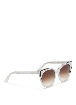 Figure View - Click To Enlarge - Thierry Lasry - 'Polygamy' metal corner pearlescent acetate cat eye sunglasses