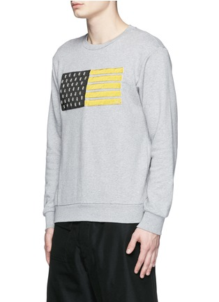 Front View - Click To Enlarge - Palm Angels - Metallic flag embroidery sweatshirt