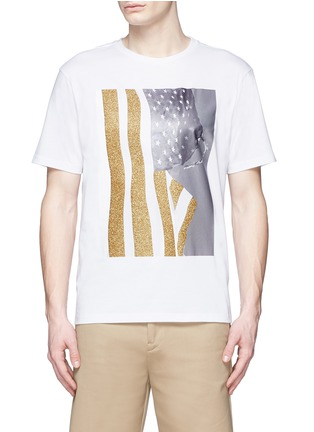 Main View - Click To Enlarge - Palm Angels - Glitter flag print T-shirt
