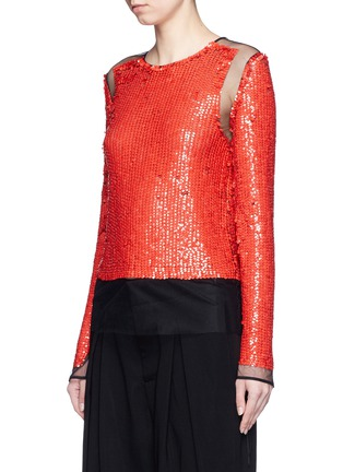 Front View - Click To Enlarge - Emilio Pucci - Sequin embellished mesh top