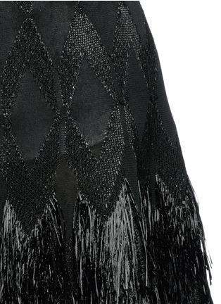 Detail View - Click To Enlarge - Alaïa - 'Rapa Nui' raffia fringe knit skirt