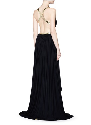 Figure View - Click To Enlarge - Alaïa - Metallic stripe drape front chiffon gown