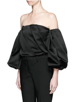 Front View - Click To Enlarge - THE ROW - 'Amilli' balloon sleeve silk off-shoulder top