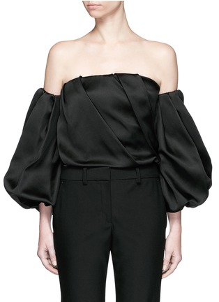 Main View - Click To Enlarge - THE ROW - 'Amilli' balloon sleeve silk off-shoulder top