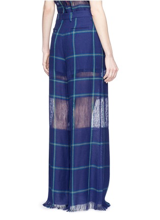 Back View - Click To Enlarge - MSGM - Fringe stripe wide leg linen pants