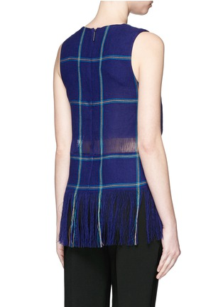 Back View - Click To Enlarge - MSGM - Check plaid fringe linen tank top