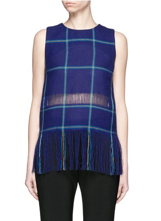 Main View - Click To Enlarge - MSGM - Check plaid fringe linen tank top