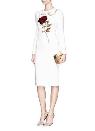 Figure View - Click To Enlarge - Dolce & Gabbana - 'I Love You Mamma' rose sequin appliqué virgin wool dress
