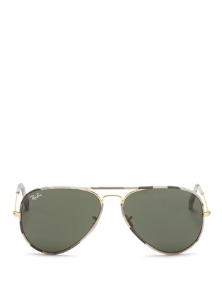 Main View - Click To Enlarge - RAY-BAN - 'Aviator Camouflage' fabric rim wire sunglasses
